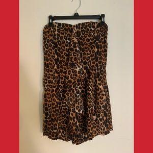 Express Cheetah Print Strapless Romper Jumpsuit